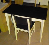 【モデルルーム展示品】勉強机セット デスク イス ブラックxホワイト W950